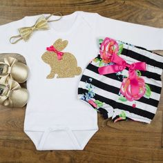 baby girl Easter outfit Gold Bunny Baby by OliveLovesApple Little Kid Fashion, Little Girl Outfits, Kids Outfits, Kids Fashion, Little Baby Girl, Cute Little Girls, Baby Baker, Easter Outfit For Girls, Bunny Outfit