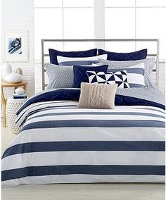 """Nautica Home Lawndale Navy 12"""" x 20"""" Decorative Pillow Blue/White Pinwheels Bedding Collections Was $40, now $29- Macy's"""