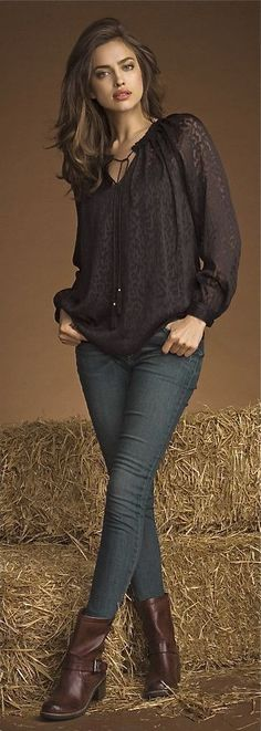 Great Jean look w blouse and boots love it.                                             Irina Shayk for XTI 2014 ...luv whole Outfit . Head 2 toe!!!