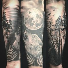 Wolf in the forest half sleeve #tattoo #wolf #forest