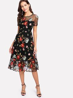 Verdusa Women's Round Neck Short Sleeve Floral Embroidered Dress Frock Fashion, Fashion Dresses, Halloween Outfits For Women, Dress Outfits, Casual Dresses, Stylish Summer Outfits, Kids Dress Wear, Tango Dress, Floral Lace Dress
