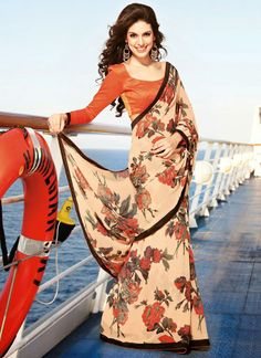 Breathtaking #Floral #Printed #Georgette #Saree
