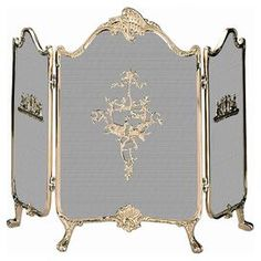 """3-panel fireplace screen with a solid brass frame and classic-inspired detail.  Product: Fireplace screenConstruction Material: BrassColor: Polished brassFeatures: French-inspired designDimensions: 32"""" H x 41"""" W"""