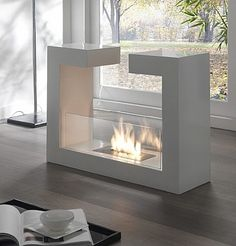 Contemporary design white Bioethanol Fireplace 7 by Stones