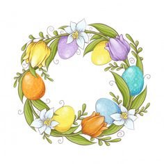 Branch of willow and colored eggs on white background. Easter Illustration, Easter Coloring Pages, Wreath Drawing, Floral Drawing, Spring Art, Christmas Svg, Easter Wreaths, Easter Crafts, Happy Easter