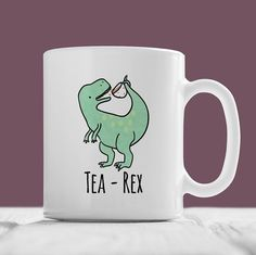 Tea-Rex Mug, Cute Hand Illustrated Dinosaur Coffee Ceramic Mug, Funny Nerd Geek T-Rex Animal Birthday Christmas, Gift For Him, Gift For Her