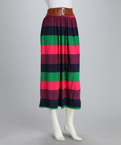 Take a look at this Green Stripe Maxi Skirt by Meetu Magic on #zulily today! $14.99