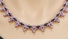 Pink and black chain maille star necklace by SilverSerenade, $70.00