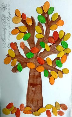 Моя игра: Цветом листья разные: желтые и красные Toddler Arts And Crafts, Halloween Arts And Crafts, Creative Arts And Crafts, Crafts For Kids, Autumn Crafts, Autumn Art, Pumpkin Seed Crafts, Mosaics For Kids, File Decoration Ideas