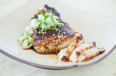 Sea bass with soy glaze and cucumber salsa