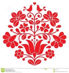 Kalocsai Red Embroidery - Hungarian Floral Folk Pattern With Birds Stock Illustration - Image: 53177811
