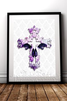Beautifully macabre Gothic style fine art print to compliment your alternative home decor #RockChicBoutique #Gothic #Skulls #WallArt #GothicHomeDecor