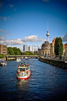 Berlin by boat on the Spree river, Germany. One of the best tours we took over there.