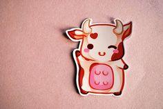 Kawaii chibi cow sticker chocolate milk cute planner