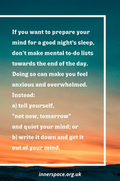 Avoid to do lists before bed Mind Gym, Write It Down, Anxious, Good Night Sleep, Make You Feel, Muscle, Mindfulness, Thoughts, Make It Yourself