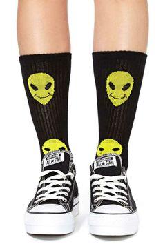 Happy Alien Socks