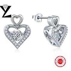 White Crystal Zircon Earrings Dancing CZ Diamond Stud Earring for Women 925 Sterling Silver Earrings Fashion Jewelry Accessories