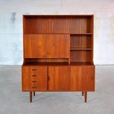 Amazing Danish Modern Teak Bookcase Secretary Desk Bar Bookshelf Cabinet Mid-Century Credenza Sideboard Buffet Hutch Vintage Retro 1960s