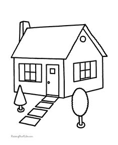 House Coloring Pages. Please print this house coloring pictures on this page. You can see a variety of home so that your children can spend some fun time colori Coloring Sheets For Kids, Animal Coloring Pages, Coloring Pages To Print, Coloring Book Pages, Printable Coloring Pages, Kids Coloring, 3d House Drawing, House Drawing For Kids, Art Drawings For Kids