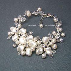 Pearl Wedding Bracelet Handmade Bridal Cuff by adriajewelry, $66.00