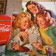 Vintage 1948 Coca Cola Coke Ad Advertisement Soda Fountain Coke Glasses Cooler #CocaCola