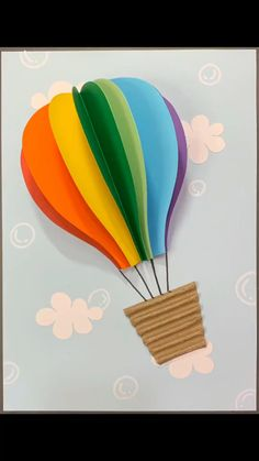 Hot Air Balloon Craft For Kids, Diy Paper, Paper Crafts, Rainbow Crafts, Adult Coloring Pages, Creative Crafts, Paper Plates, Origami, Create Your Own