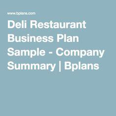 sample business plans deli restaurant