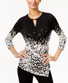 abb63c9cdea Calvin Klein Asymmetrical Faux-Wrap Top Wrap Style