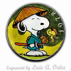 Samurai Snoopy Ike Hobo Nickel Colored & Engraved by Luis A Ortiz Hobo Nickel, Hand Engraving, Samurai, Hand Carved, Snoopy, History, Ebay, Color, Things To Sell