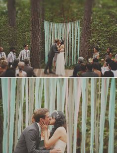 Never underestimate the delightful effect of paper streamers hung from a cord. It's a great way to add a splash of your wedding colors to any blank slate. Source