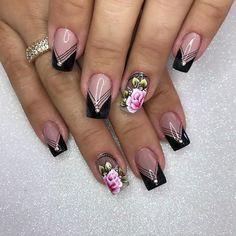 French Nail Designs, Black Nail Designs, Nail Art Designs, Nail Art Kit, Gel Nail Art, Gel Nails, Fabulous Nails, Gorgeous Nails, Pretty Nails