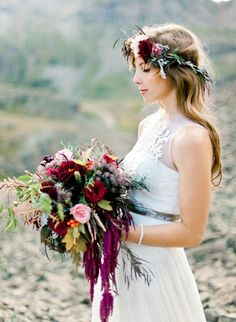 This amazing fall flora. | 19 Incredibly Beautiful Floral Crowns For Fall Weddings