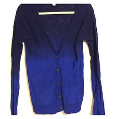 Ombré Blue Cardigan This cardigan has been worn only a few times and is in like new condition! It is long-sleeved, a deep v-neck, buttoned, and has two pockets at the bottom. It is two shades of blue and is (purposefully) see through in parts. 100% cotton. Arizona Jean Company Sweaters Cardigans