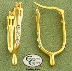 Chippendale Collection Spur Earrings - Gold w/ Clear CZ