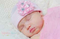 Baby Beanie Hats for Girls – Pink & White Stripe Newborn Hat with Satin Jeweled Flowers – Stretchy Hospital Hat Material Guaranteed to Fit