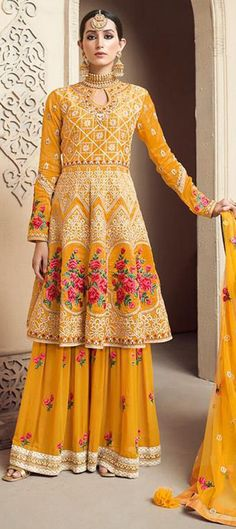 1551861: Party Wear Yellow color Salwar Kameez in Viscose fabric with Sharara Embroidered, Resham, Stone, Thread work