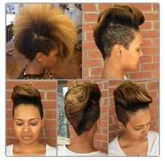 like the haircut, and like the yellow tips. the yellow would only look good if you had a natural-looking hair color to go with it, though. it'd look bad on my black hair, i'd look like … Short Hair Cuts, Short Hair Styles, Natural Hair Styles, Afro Punk, Love Hair, Gorgeous Hair, Caramel Blond, Sassy Hair, My Hairstyle