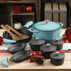 Farberware Reliance Cookware Set - Cookware Set - Ideas of Cookware Set - Pioneer Woman cast iron cookware set 2017 Cookware Set Ideas of Cookware Set Pioneer Woman cast iron cookware set 2017 Cast Iron Cookware, Cookware Set, New Kitchen, Kitchen Decor, Kitchen Stuff, Happy Kitchen, Kitchen Tips, Kitchen Island, Kitchen Ideas