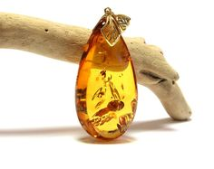 Brilliant amber pendant, gold plated, luxurious royal amber jewelry, cognac amber pendant, natural Baltic amber, drop shape amber pendant