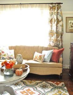Fall Home Tour via Jennifer Rizzo featuring Cost Plus World Market's Angeline Jute Ring Top Curtains >> #WorldMarket Living Room Decor, Home Decor, Tips