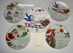ROSANNA HAPPY CHRISTMAS DESSERT SALAD PLATES SNOWMAN SANTA REINDEER 4 NIB #Rosanna