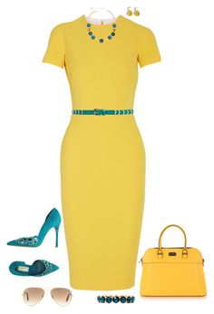 """Yellow & turquoise"" by julietajj on Polyvore"