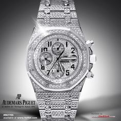 Genuine Audemars Piguet watch completely decked out in diamonds! The diamonds were added by ItsHot.com as part of a customization service.