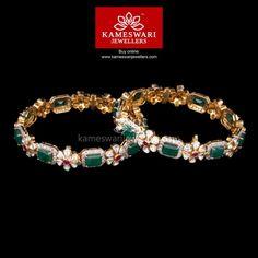 Blend of Gold, Polki and Emeralds Buy Bangles Online Gold Bangles Design, Gold Jewellery Design, Emerald Jewelry, Silver Jewelry, Emerald Necklace, Silver Bracelets, Indian Jewelry, Silver Rings, Gold Necklace