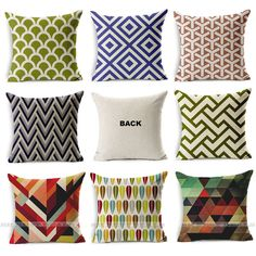 Natural Linen Geometric Print Pattern Cushion Cover Home Decor Throw Pillow Case
