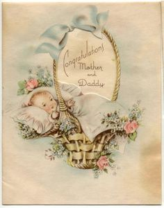 old fashion, vintage baby, baby shower card with baby in basket with roses