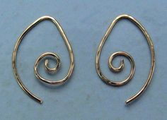 Small Fancy Looped INTERCHANGEABLE Earring Wires Hammered STERLING, ROSE or YG