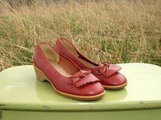 Vintage 70's Wedge Ballet Shoes  Women Size 8  by RubyChicBoutique, $36.00