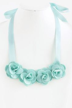 "Fabric Rose Ribbon Tie Bib Necklace. (Pink, Mint, Beige and Black) - Approx. 54"" length - Lead/Nickel compliant - Ribbon tie in the back"