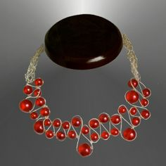 Red pearls woven in sterling wire and viking knitted lace